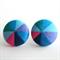Buy 3 Get 1 Free! Blue Pinwheel Fabric Button Stud Earrings