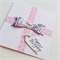 Soft pink with grey present & tag happy birthday with handmade bow card