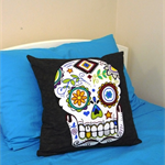 Cushion Cover - Sugar Skull bright on black 40cm 16 inches