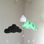 Mint Green, Charcoal Grey, White Felt Cloud Nursery Baby Mobile Raindrops