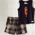 feather & check   boys tank & shorts outfit   toddler gift