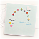BABY boy or girl card rainbow buttons blue cloud