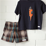 feather & check   boys tee & shorts outfit   toddler gift