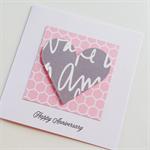 Soft pink & grey graffiti hexagon geometric love heart happy anniversary card