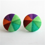 Buy 3 Get 1 Free! Green Pinwheel Fabric Button Stud Earrings