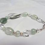 Clear Quartz, Aventurine, Aquarmarine and Sterling Silver Bracelet