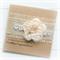 WEDDING card ivory burlap vintage - organza and silk flower in ivory