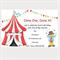 Printable Circus Birthday Invitations