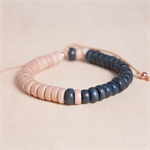 BLACKBERRY GELATO Colourblock Wooden Adjustable Bracelet - Navy Ink