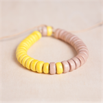 LEMON GELATO Colourblock Wooden Adjustable Bracelet - Yellow and beige-pink wood