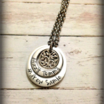 Family Tree of Life Personalised Hand Stamped Double Silver Pendant Necklace