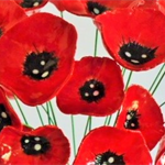 3 Beautiful handcrafted ceramic clay poppy flowers