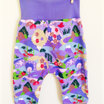 baby harem pants in cute & quirky deer village purple print. FREE SHIPPING