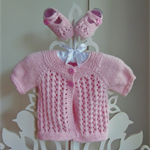 Hand Knit, 0-3m Baby Cotton, Lacy Jacket Cardigan with Matching Booties, Pink