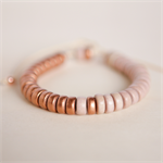 METALLIC COPPER Colourblock Wooden Adjustable Bracelet