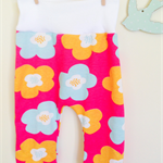 baby harem pants in cute & quirky retro flower pink print. FREE SHIPPING