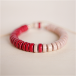 CRIMSON Colourblock Wooden Adjustable Bracelet - Red and beige-pink wooden beads