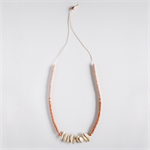 COPPER Colourblock Wooden Necklace - Beige-pink and metallic copper wooden bead