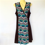 Blue & Black Wrap Around Dress - retro 70s geometric print -Ladies sizes 8 to 14