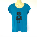 Blue Robot Tshirt - screen print, retro, space age - Ladies sizes 8 to 18 avail