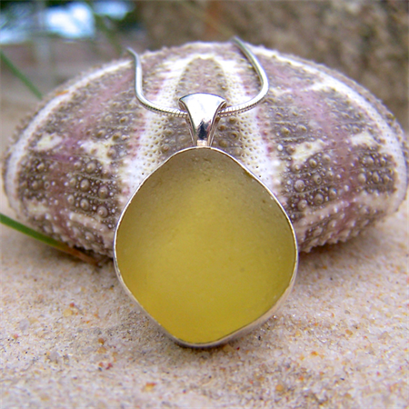 Citron Sea Glass Pendant