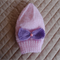 Size 2-4 yrs hand knitted beanie in pink with detachable bow: Washable