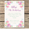 Printable Birthday Invitation Custom Floral Watercolour Flowers Garden Party