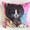 Cat kitten cushion nursery children decor vintage linen cover