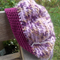 child's crocheted beret, acrylic and bamboo,  purple, pink and mustard