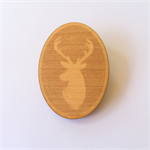 Handmade Wooden Deer Brooch - laser cut, wood, retro, vintage