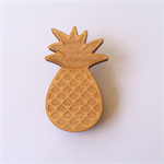 Handmade Wooden Pineapple Brooch - laser cut, wood, retro, vintage