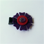 Handmade Felt Flower Hair Clip - ribbon, alligator clip, button, purple, retro