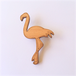 Handmade Wooden Flamingo Brooch - laser cut, wood, retro, vintage