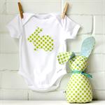 easter baby   gift set   applique onesie   bunny softie   green