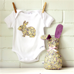 easter baby   gift set   applique onesie   bunny softie   lemon lilac floral