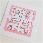 Magical fairy unicorn happy birthday wand pink girl her daughter friend card