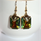 Vintage German special effect glass crystal Elephant charm dangle gold earrings