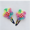 Rainbow Flower Button Hairclip, Crochet Accessories, Gift