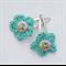 Aqua Flower button Hair clip, Crochet Accessories, gift