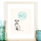 A4 Print for Baby Boy Nursery, Light Blue, Green, Themed Decor, 'Hello There'
