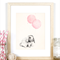 Bunny and Light Pink Balloons - A4 Art Print