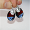 Vintage German Cuba two tone Red blue crystal Lion head charm silver earrings