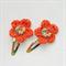 Orange Flower Button hair Clip, Crochet accessories, gift