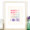I am Free - A4 Inspirational Print - Rainbow Watercolour Butterflies