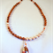 Goldstone and Swarovski Pearl Necklace with Swarovski Focal.