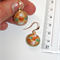 Vintage Speckled Orange lemon white green art glass retro dangle brass earrings