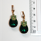 Emerald green cut glass crystal pear Frog charm dangle brass earrings