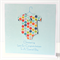 christening boy card rainbow spotty baby suit with button