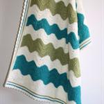 Baby Blanket | Crocheted Chevron Wool | Pram Cot Nursery | Ready to Ship