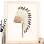 Warbonnet Tribal Art Print 11x14 or A3